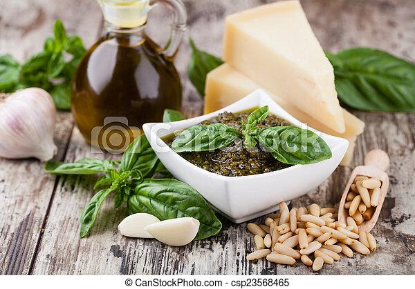 Basil pesto sauce - csp23568465