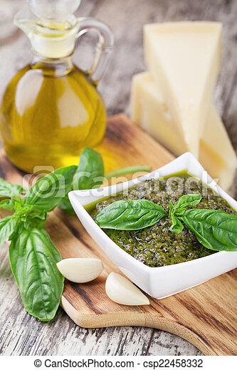 Basil pesto sauce - csp22458332