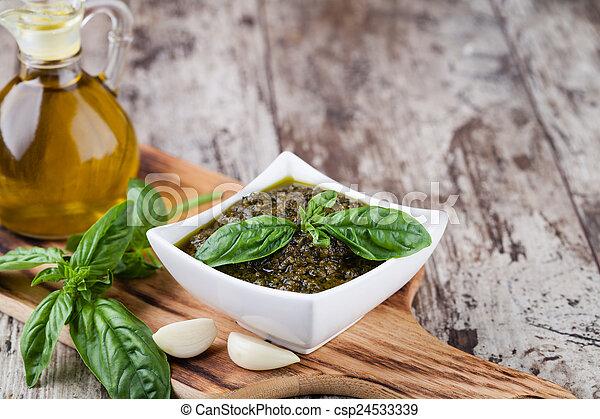 Basil pesto sauce - csp24533339