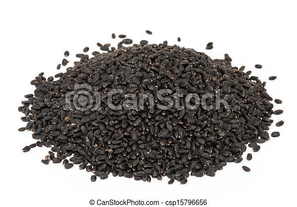 Basil seed on white background . - csp15796656