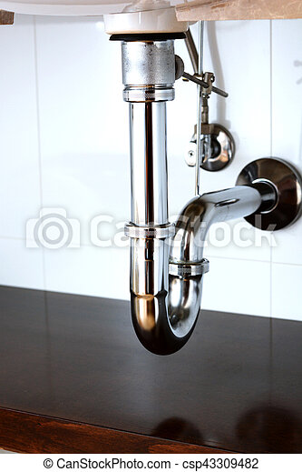 Basin siphon or sink drain in a bathroom - csp43309482