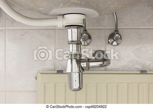 Basin siphon or sink drain in a bathroom - csp49204922