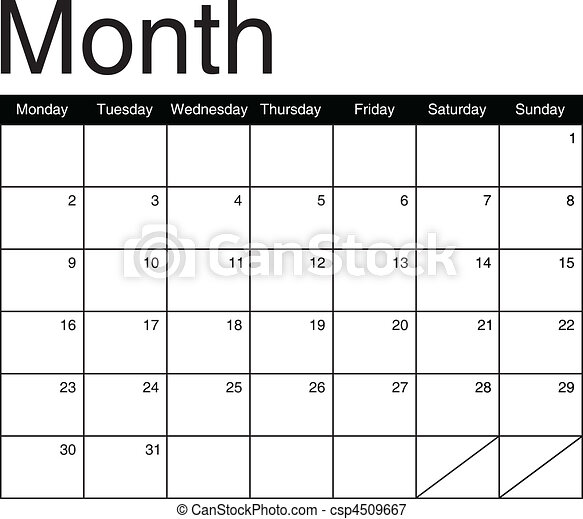 Basis for a monthly calendar in black and white, vector image - csp4509667