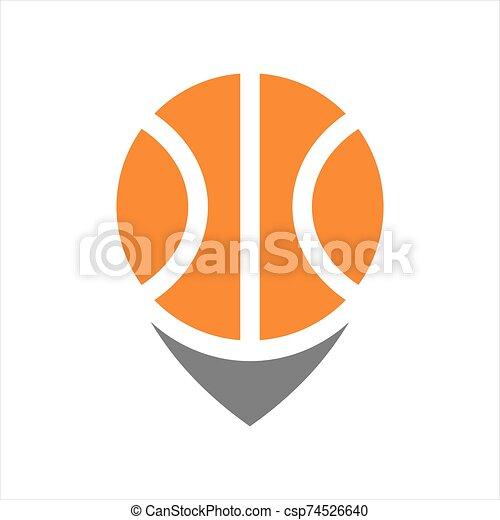 basket ball, emplacement, panier, icône, balle, épingle, logo, gabarit, carte