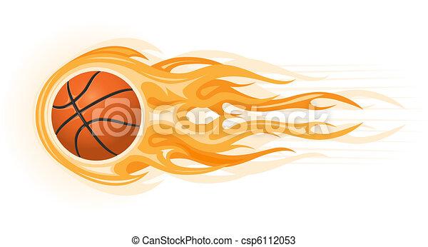basket-ball, flamme, balle - csp6112053