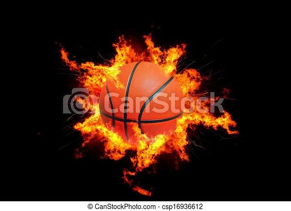 basket-ball, flammes - csp16936612