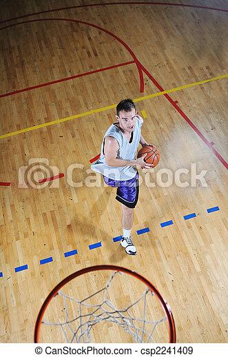 basket ball game player at sport hall - csp2241409