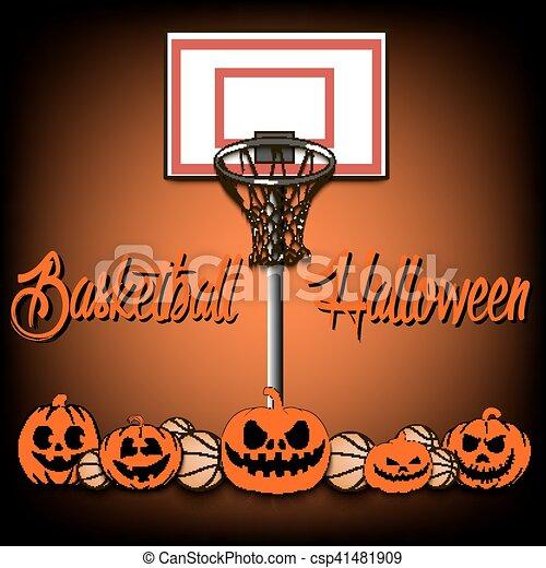 Basket-ball, halloween, basket-balls, rings., vecteur, illustration, fond,  citrouille.