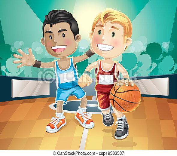 basket-ball, jouer, indoor., gosses - csp19583587