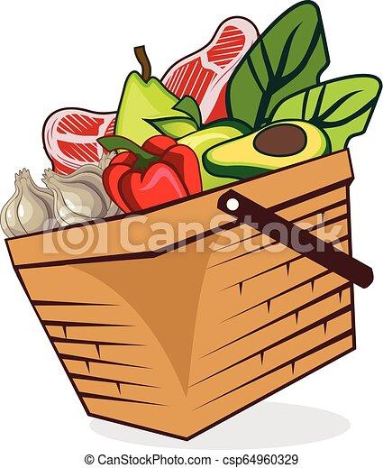 Basket food vegetables vector - csp64960329