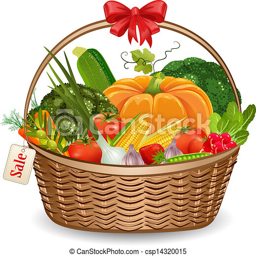 Vector Clip Art Of Basket Fresh Vegetables For Your Design