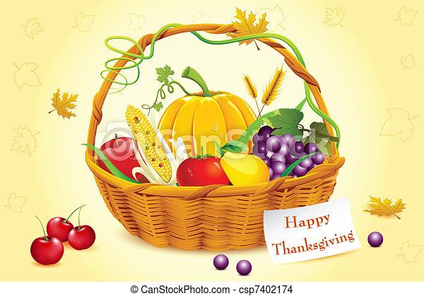 Basket Full Of Thanksgiving Vegetable Illustration Of Fruits And