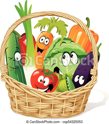 Basket full of vegetable character cartoon - funny vector ...
