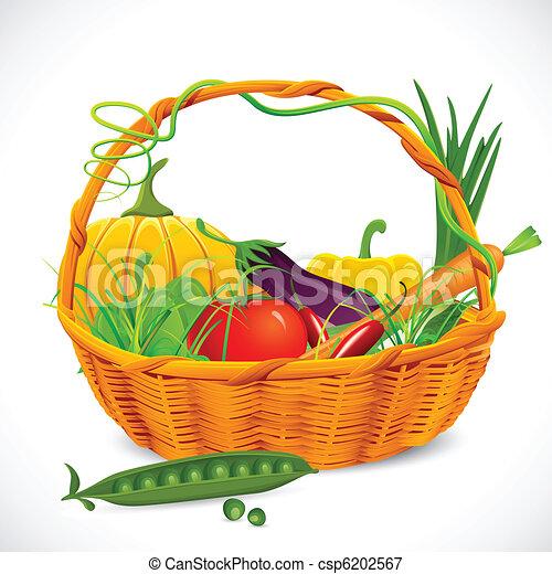 Basket Full Of Vegetables Illustration Of Vegetable In Basket On
