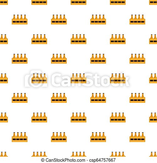 Basket of bottle beer pattern seamless - csp64757667