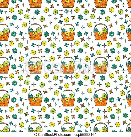 Basket of flowers seamless pattern - csp55882164