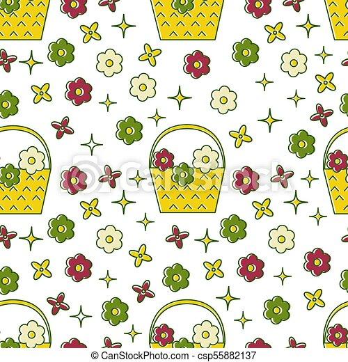 Basket of flowers seamless pattern - csp55882137