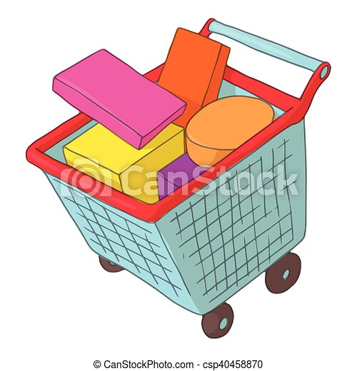 Basket on wheels with shopping icon, cartoon style - csp40458870