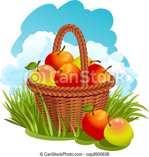 Basket with apples - csp2600638