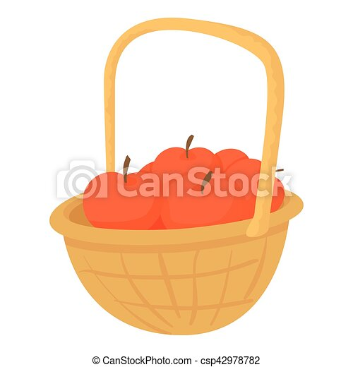 Basket with apples icon, cartoon style - csp42978782