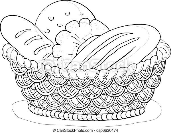 Basket with bread, contour - csp6630474