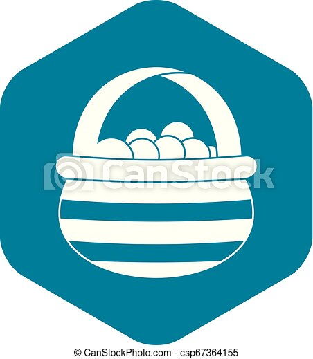 Basket with cranberries icon, simple style - csp67364155