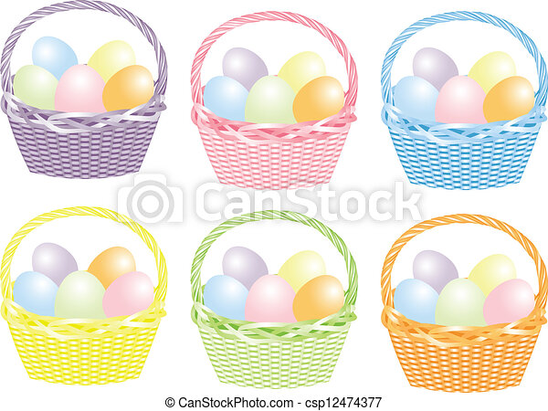 Basket with Easter eggs - csp12474377