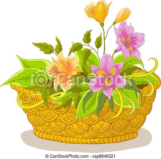 Basket with flowers alstroemeria - csp8646321