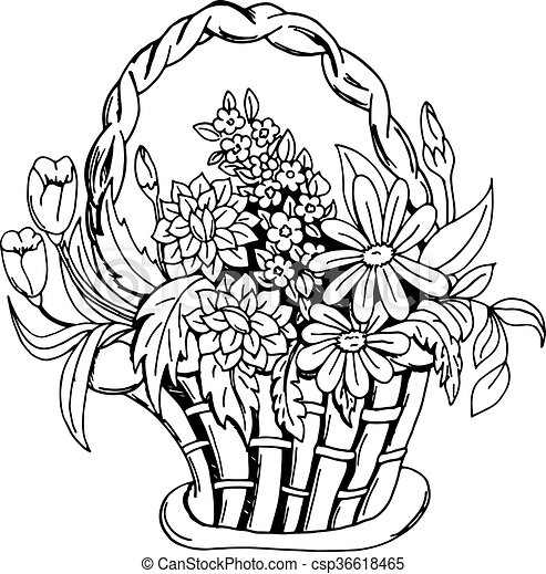 Basket with flowers - csp36618465
