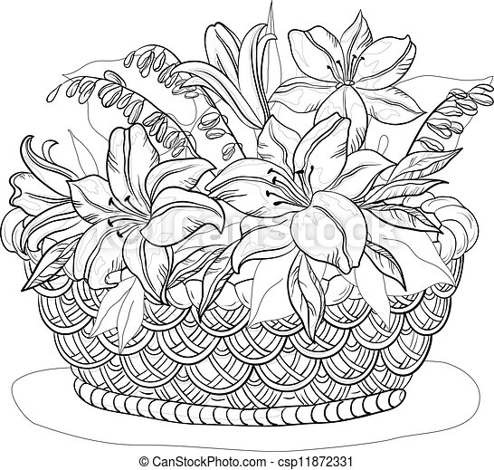 Basket with flowers, contours - csp11872331