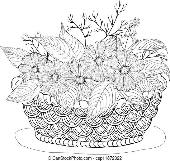 Basket with flowers, contours - csp11872322