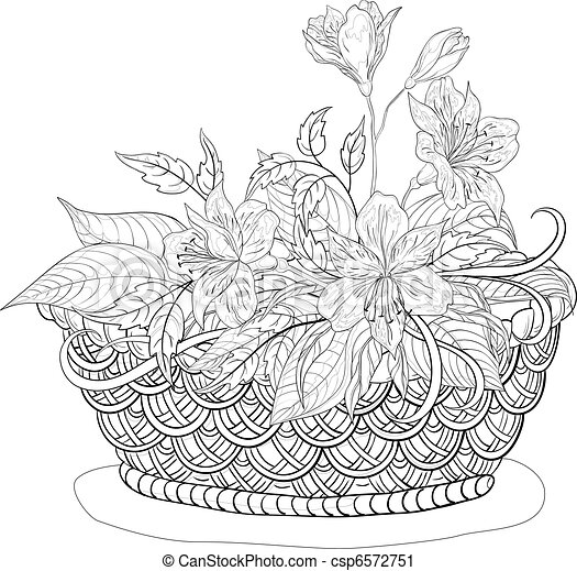 Basket with flowers, contours - csp6572751