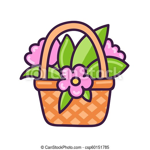 Basket with flowers. - csp60151785