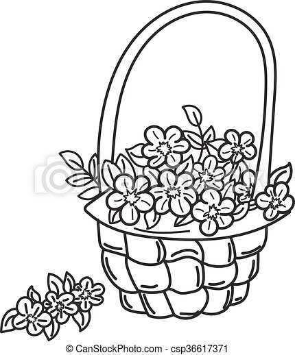 Basket with flowers - csp36617371