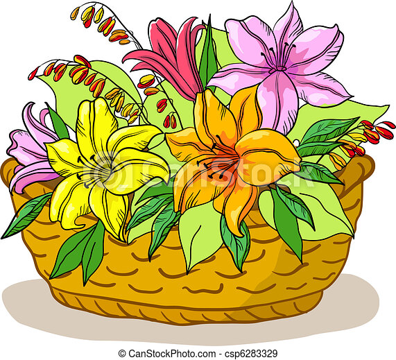 Basket with flowers lily - csp6283329
