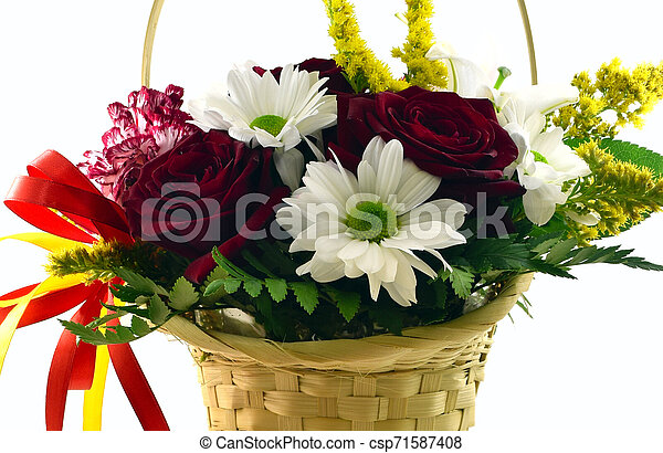 basket with flowers on a white background - csp71587408