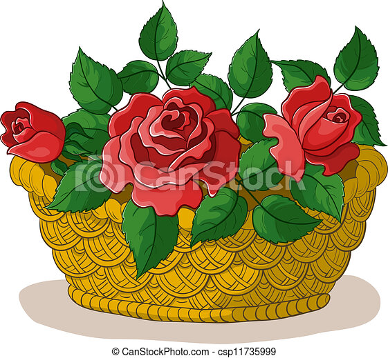 Basket with flowers roses - csp11735999
