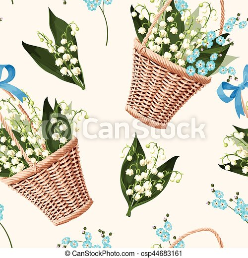 Basket with flowers seamless - csp44683161
