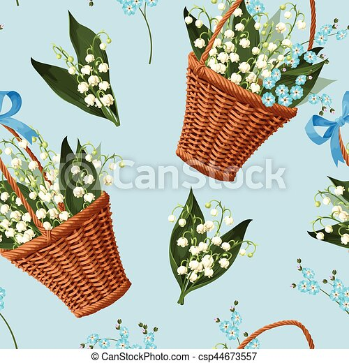 Basket with flowers seamless - csp44673557