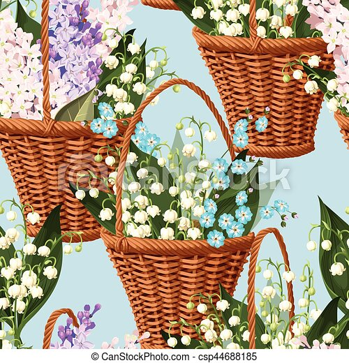 Basket with flowers seamless - csp44688185