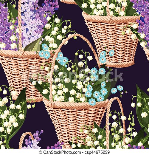 Basket with flowers seamless - csp44675239