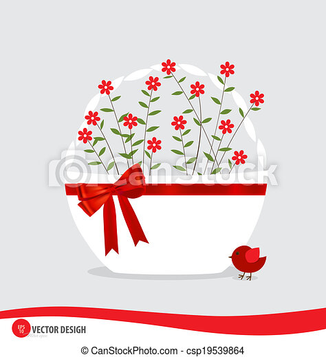 Basket with flowers. Vector illustration. - csp19539864