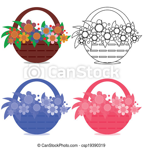Basket with flowers,set. - csp19390319