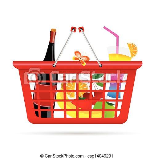 basket with fruit vector illustration - csp14049291