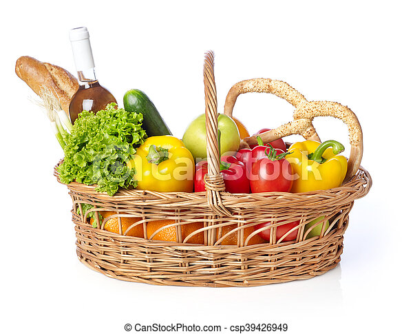 Basket with fruits and vegetable - csp39426949
