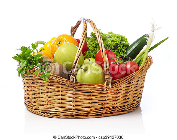 Basket with fruits and vegetable - csp39427036