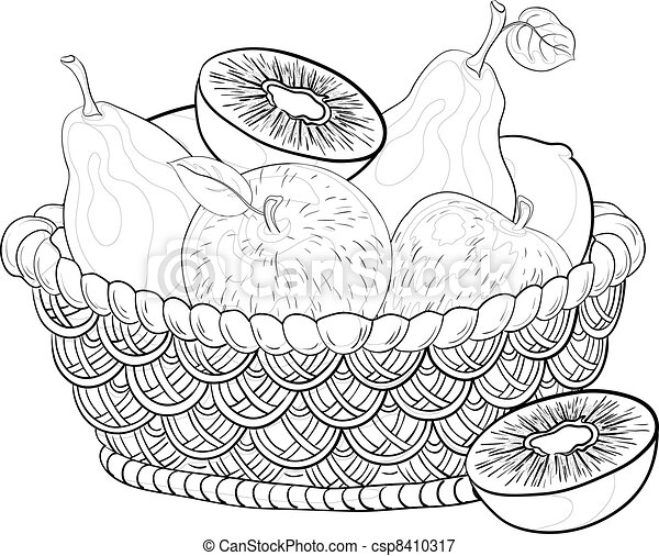 Basket with fruits, contours - csp8410317