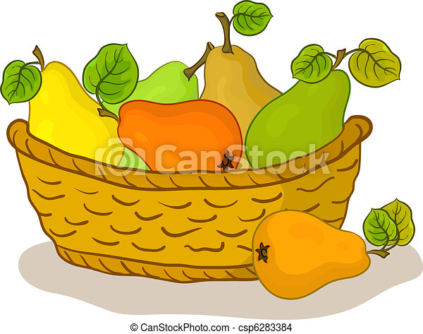 Basket with fruits, pears - csp6283384