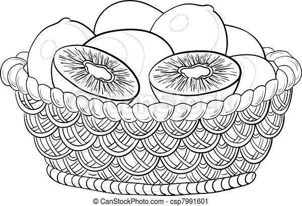 Basket with kiwi fruits, contours - csp7991601