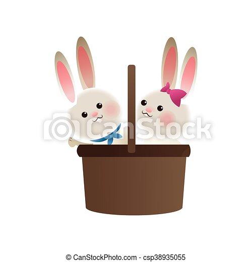basket with rabbits cartoon icon - csp38935055